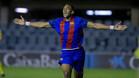 Jordi Mboula celebra el gol de la victoria (2-1)