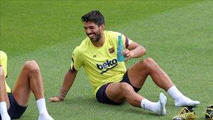 Luis Suárez, en un entrenamiento reciente del FC Barcelona
