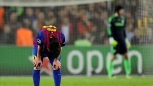 Messi, durante un duelo ante el Chelsea