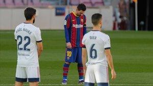 Messi, durante el homenaje a Maradona