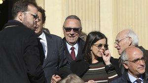 El que fuera vicepresidente de Josep Lluís Núñez, Joan Gaspart, a la salida del funeral