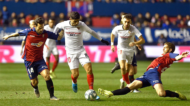El Sevilla saca un punto de El Sadar ante un Osasuna en inferioridad numérica