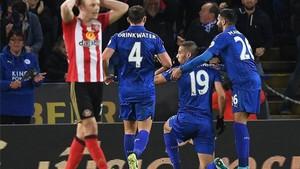 Slimani, celebrando su gol al Sunderland