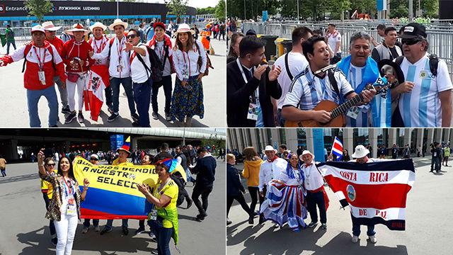 La afición latina da color al Mundial en Rusia