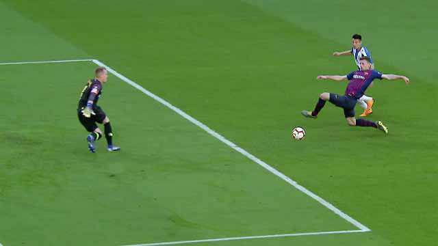 El corte perfecto de Lenglet que evitó el gol del Espanyol