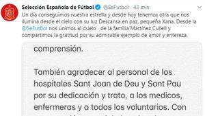 La Federación Española expresó su dolor por la pérdida de la hija del exseleccionador