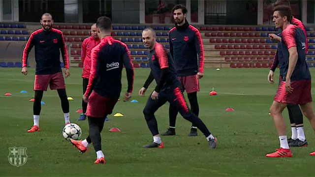 Iniesta vuelve a entrenar a 48h del Barça-Chelsea