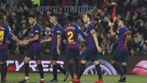 Los jugadores del Barcelona celebrando uno de los goles