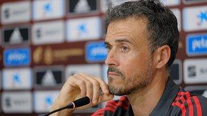 Luis Enrique, en el estadio Gran Canaria