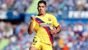 Luis Suárez celebra con rabia su gol al Getafe, el primero a domicilio esta temporada