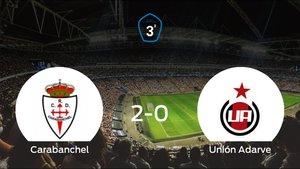 El RCarabanchel derrota 2-0 al Unión Adarve en La Mina de Carabanchel