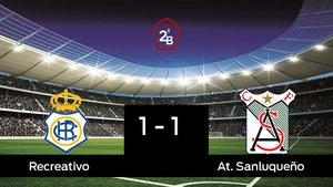 El At. Sanluqueño consigue un empate a uno ante el Recreativo
