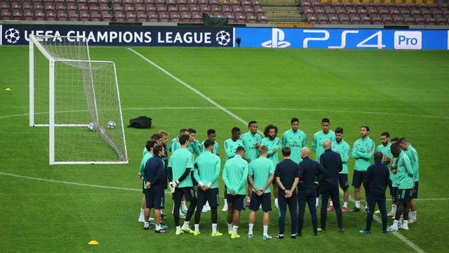 Último entrenamiento del Real Madrid antes del decisivo encuentro ante el Galatasaray