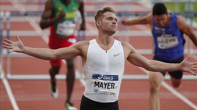 Kevin Mayer reta a Kylian Mbappé a medirse en los 100 metros lisos