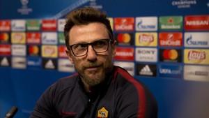 Di Francesco comparece en la sala de prensa del Estadio Olímpico