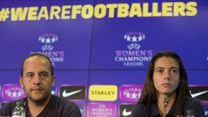 Lluís Cortés y Aitana Bonmatí, en el Media Day previo al duelo ante el FCMinsk en la ida de octavos de final de la Champions
