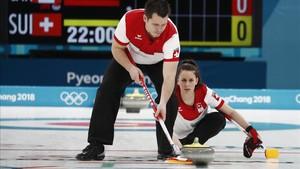 Martín Ríos, durante la final olímpica de curling