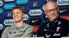 Odegaard y Lagerback, en una rueda de prensa reciente