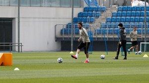 Sergio Ramos, en el promer entrenamiento tras la pandemia