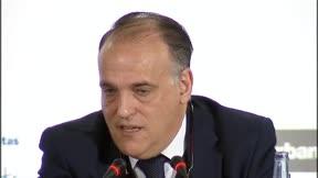 Tebas bromeó sobre el nombre del nuevo estadio del Atlético de Madrid