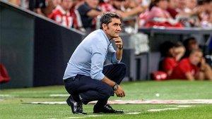 Valverde, durante el pasado encuentro en San Mamés