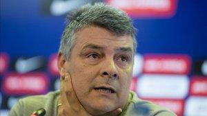 Xavi Pascual, este lunes en la rueda de prensa previa a la Final Four