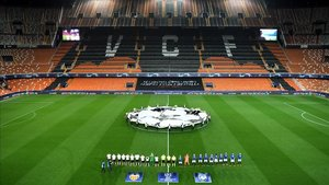 Imagen fantasmagórica de Mestalla en la vuelta de Champions ante el Atalanta