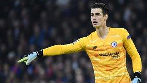 Kepa Arrizabalaga defendiendo la portería del Chelsea