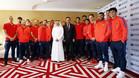 Las imágenes de la recpeción del FC Barcelona con el CEO de Qatar Airways Akbar Al Baker