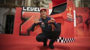 Márquez, en la celebración de su séptimo título, el quinto en la máxima categoría