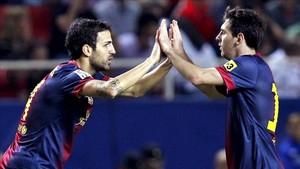 Messi y Cesc, en la etapa en la que compartieron vestuario en el Barcelona