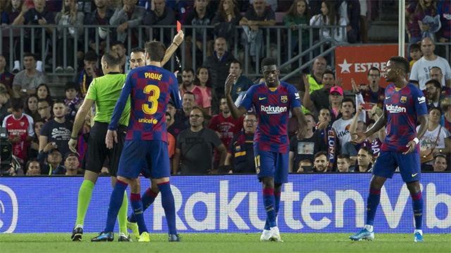 ¿Qué le dijo Dembélé al árbitro? El momento en el que el francés vio roja directa