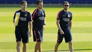 Robert Moreno y Luis Enrique trabajando juntos en el FC Barcelona
