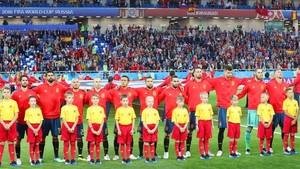 La selección española posa justo antes de un partido de la fase de grupos