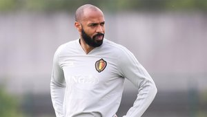 Thierry Henry durante un entrenamiento de la selección de Bélgica