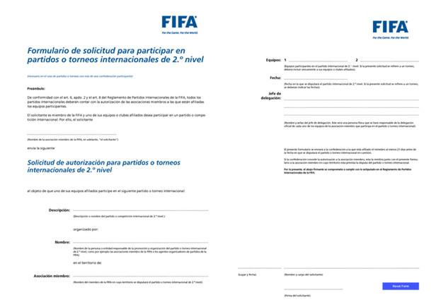 El formulario que debe remitir la RFEF