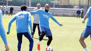 Arturo Vidal, en el entrenamiento de este lunes