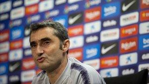 Ernesto Valverde comparece en la sala de prensa