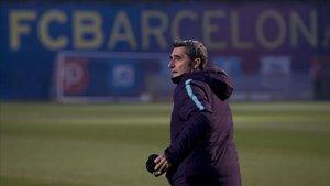 Ernesto Valverde, en el entrenamiento previo al partido ante el Leganés