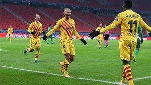Griezmann, Braithwaite y Dembélé marcaron en la primera mitad