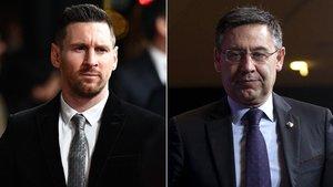 Leo Messi y el presidente del Barça Josep Maria Bartomeu