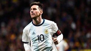 Messi durante el juego ante Venezuela
