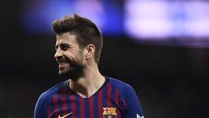 Piqué, feliz en el Bernabéu