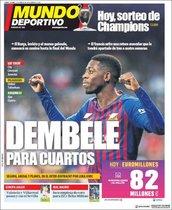 Portada de Mundo Deportivo del 15 de Marzo de 2019