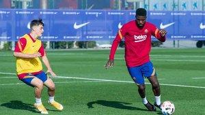 Umtiti participó en el partido del Barcelona B