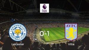 Victoria del Aston Villa frente al Leicester City (0-1)