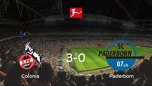 El Coloniase hace con los tres puntos tras golear al Paderborn en casa (3-0)