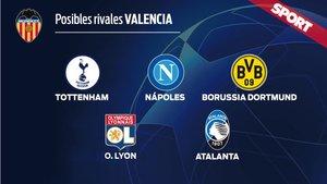 Los posibles rivales del Valencia en octavos de Champions
