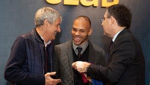 El nuevo jugador del Barça con Setién y Bartomeu