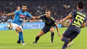El partido entre Nápoles e Inter fue muy intenso pese a la ausencia de goles